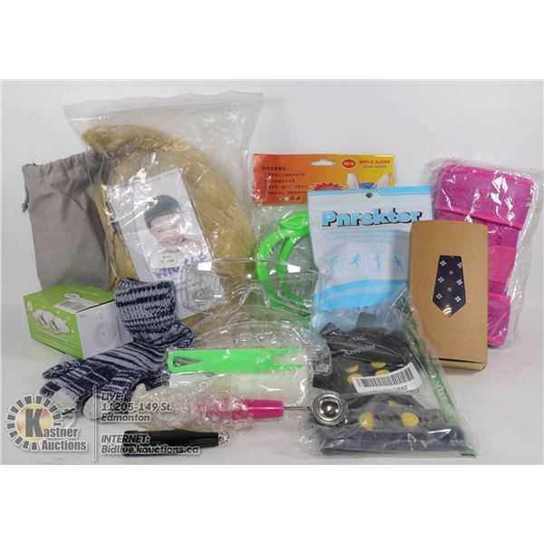 FLAT OF MISC. ITEMS INCLUDE TIE, GLOVES, AND MORE
