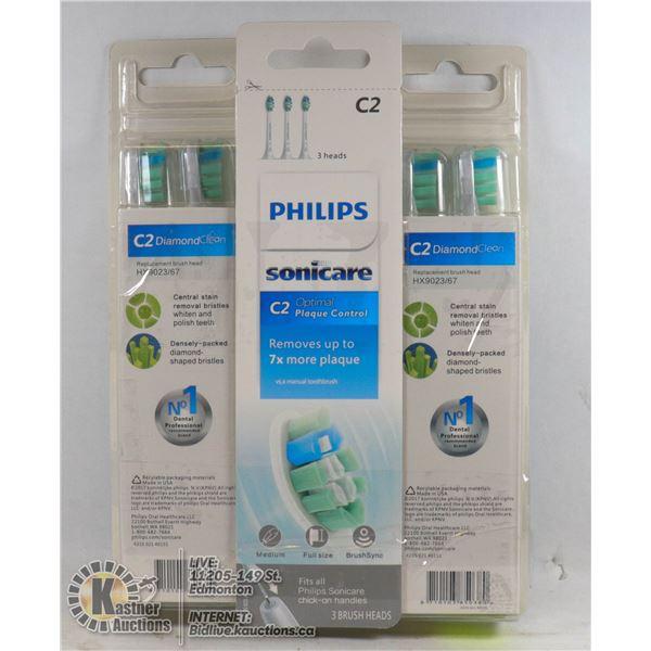 LOT OF 9 PHILIPS SONICARE C2 BRUSH HEADS