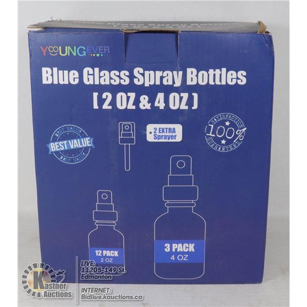BLUE GLASS SPRAY BOTTLES 12 X 2OZ, 3 X 4OZ