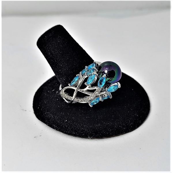 7) BLACK CULTURED PEARL & BLUE  & CLEAR CZ RING STAMPED 925 SILVER,  SIZE 8.