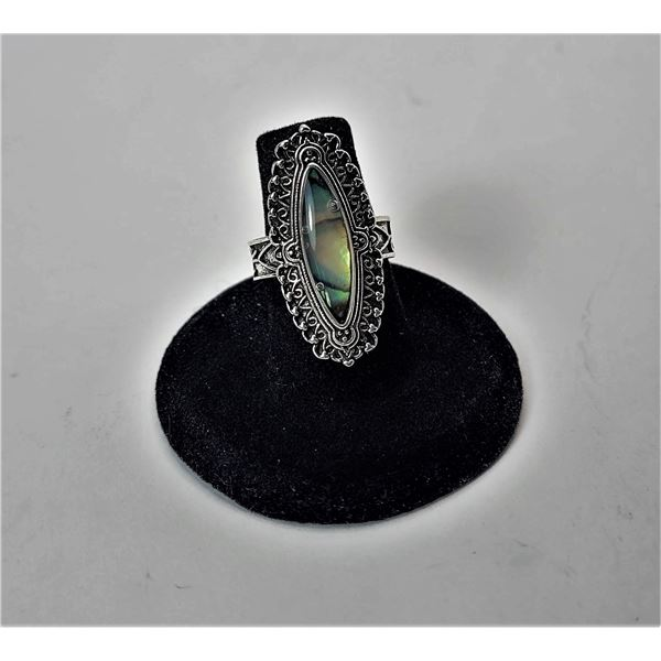 3)  SILVER TONE NATURAL ABALONE STATEMENT RING WITH CARVED SETTING AND BAND,  SIZE 8.