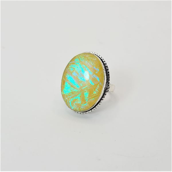 16)  AUSTRALIAN TRIPLATE YELLOW FIRE OPAL RING SET IN 925 STAMPED SILVER,  SIZE 9.