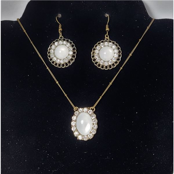 """15)  BRONZE TONE WITH WHITE OPALINE AND CLEAR CRYSTAL PENDANT ON 20"""" CHAIN AND MATCHING DROP EARRING"""