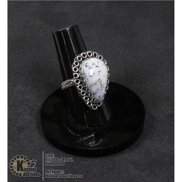 #45-DENDRITIC OPAL RING SIZE 7 JEWELRY/ SILVER PLATED/ HEALING MINERAL