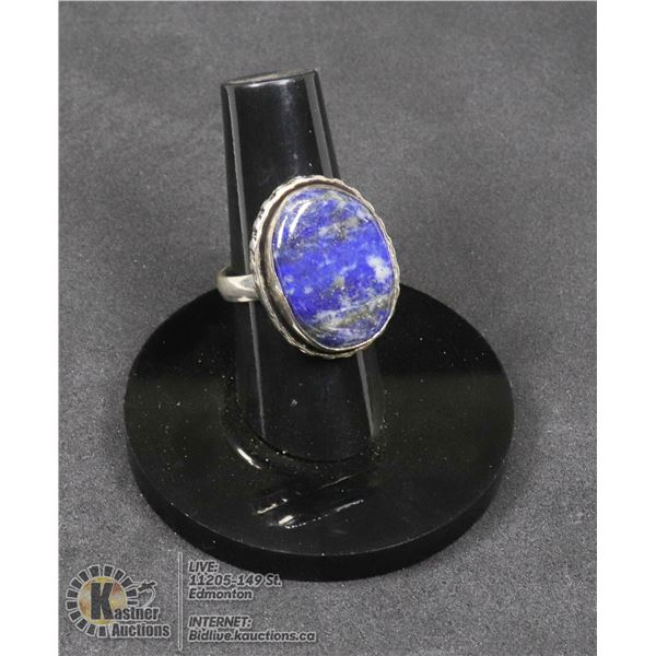 #9-NATURAL LAPIZ LAZULI RING SIZE 6 JEWELRY/ SILVER PLATED/ HEALING MINERAL