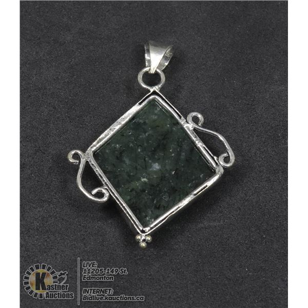 #13-NATURAL PREHNITE PENDANT JEWELRY/ SILVER PLATED/ HEALING MINERAL