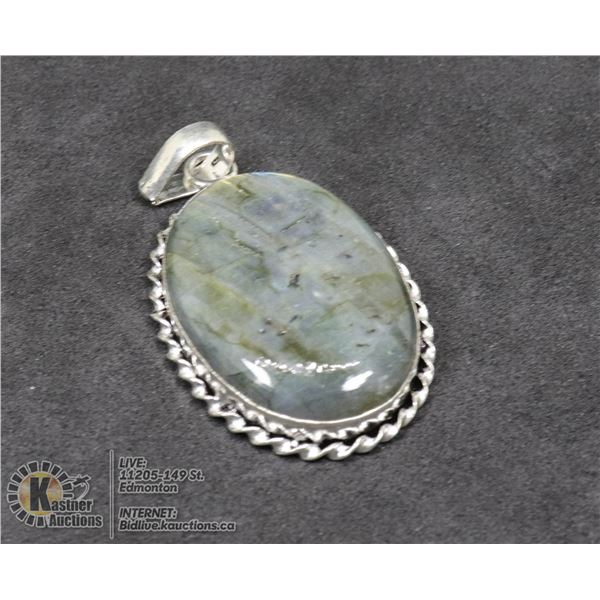 #21-NATURAL FIRE LABRADORITE PENDANT JEWELRY/ SILVER PLATED/ HEALING MINERAL