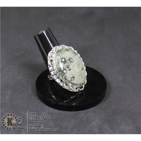 #49-OCEAN JASPER RING SIZE 8.5 JEWELRY/ SILVER PLATED/ HEALING MINERAL