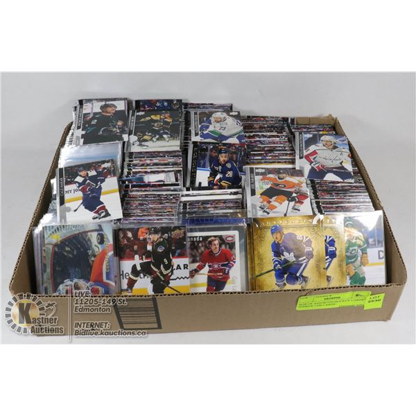 BOX OF ASSORTED HOCKEY CARDS - APPROX 1500 CARDS - UPPER DECK, ARTIFACTS, FULL FORCE
