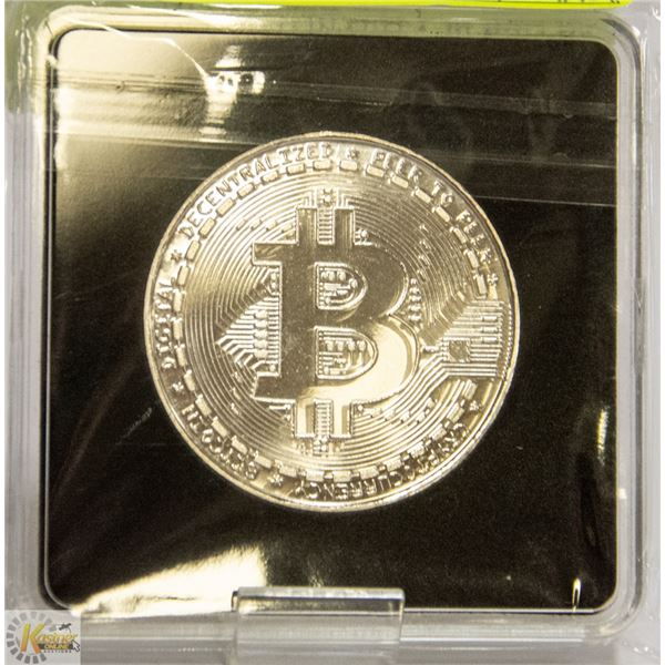 SILVER PLATED BITCOIN IN PROTECTIVE CASE 40MM NOVELTY COIN FOR CRYPTO CURRENCY ENTHUSIASTS
