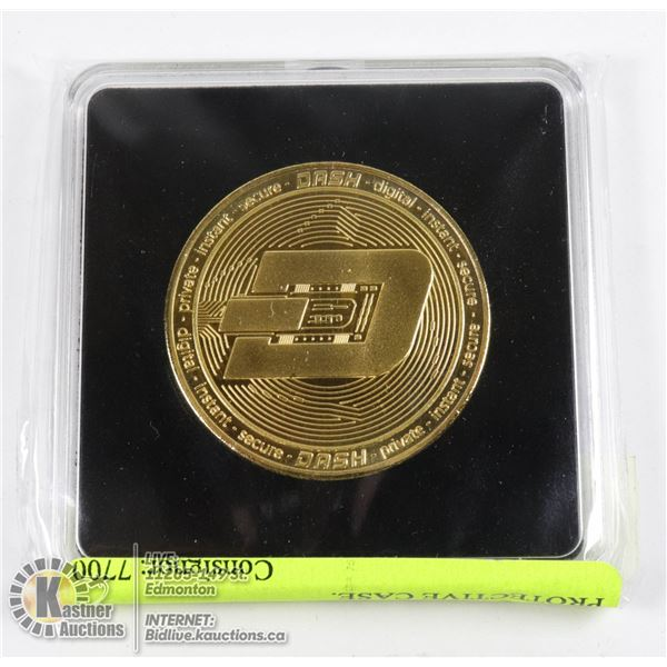 MINT GOLD PLATED DASH COIN IN PROTECTIVE CASE. 40MM NOVELTY COIN FOR CRYPTO CURRENCY ENTHUSIASTS