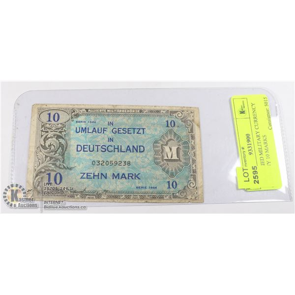 1944 ALLIED MILITARY CURRENCY GERMANY 10 MARKS NOT