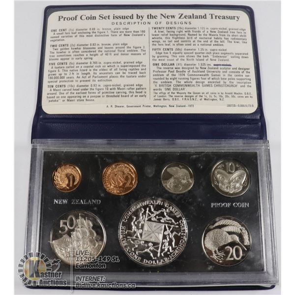 1974 SILVER NEW ZEALAND 7 COIN PROOF SET