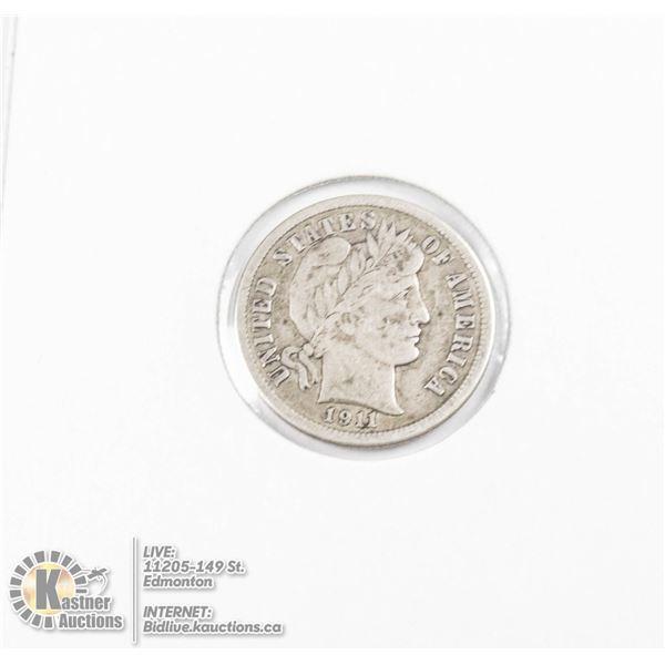 1911 SILVER USA BARBER DIME COIN