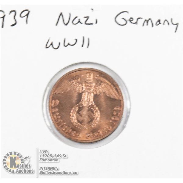 1939 WWII NAZI GERMANY 1 REICHSPFENNIG COIN, UNC.