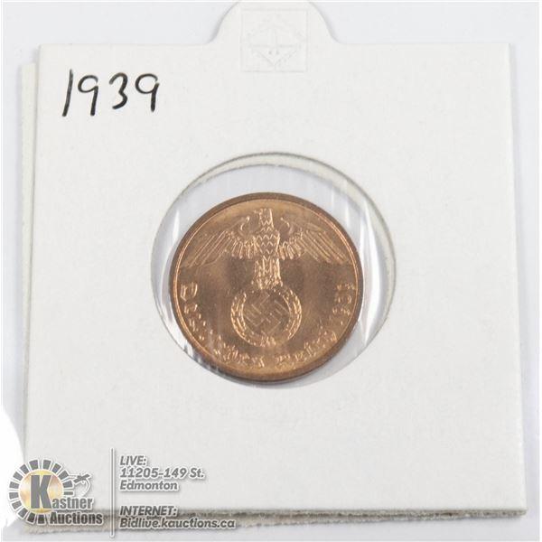 1939 WWII NAZI GERMANY 2 REICHSPFENNIG COIN, UNC.