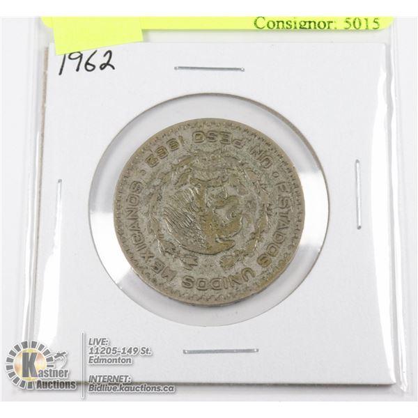 1962 SILVER MEXICO 1 PESO COIN