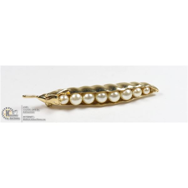 ANTIQUE SWEET PEAS BROOCH WITH PEARLS
