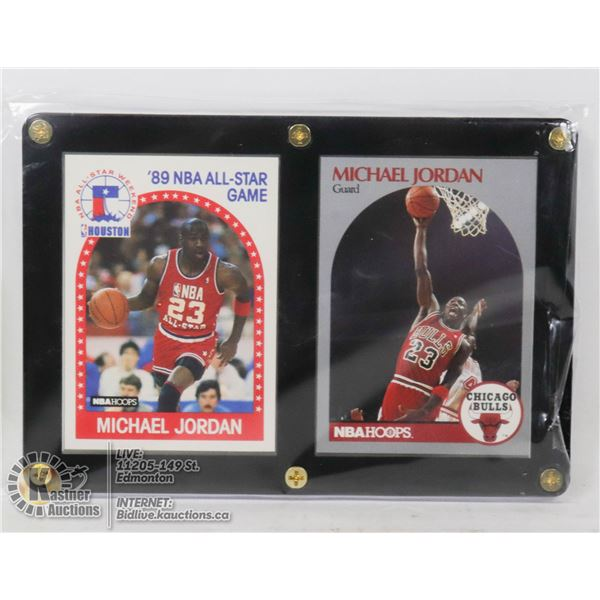 2 FRAMED MICHAEL JORDAN CARDS 1989-90 ALL STAR CARD #21 AND 1990-91 CARD #65- NONE