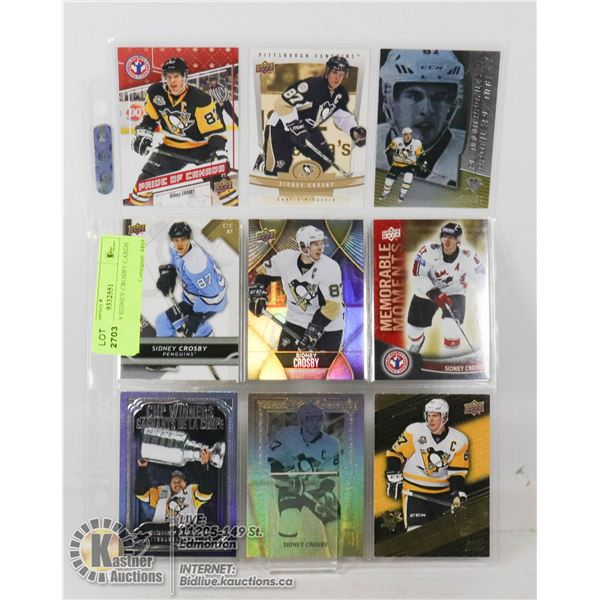 SHEET OF 9 SIDNEY CROSBY CARDS PENGUINS, TEAM CANADA, INCLUDES 4 INSERT CARDS- NONE