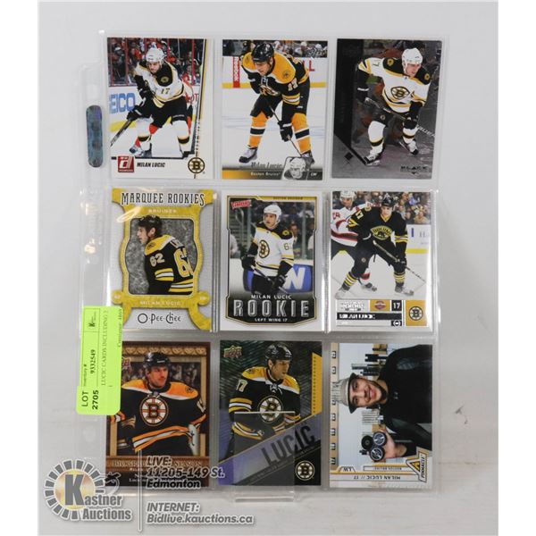 9 MILAN LUCIC CARDS INCLUDING 2 ROOKIES SHEET OF 9 CARDS INCLUDING 2 2007-08 ROOKIE CARDS- NONE