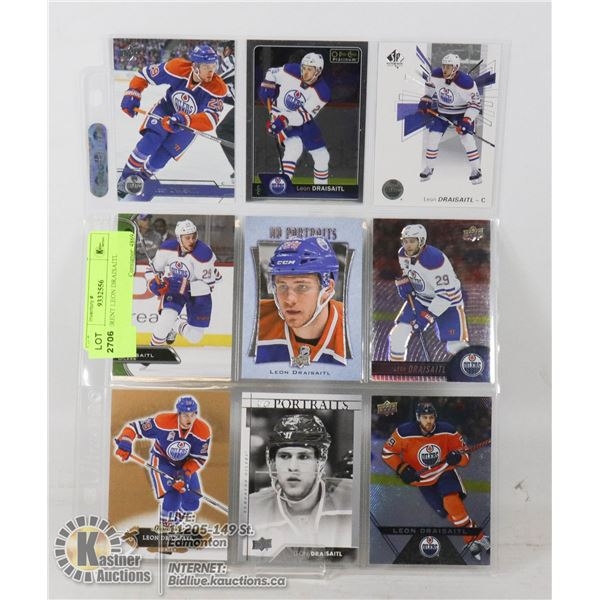 9 DIFFERENT LEON DRAISAITL CARDS SHEET INCLUDES BASE AND INSERT CARDS- NONE