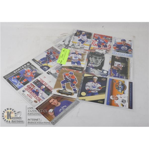 18 DIFFERENT CONNOR MCDAVID CARDS 2 SHEETS, INCLUDING BOTH BASE AND INSERT CARDS- NONE