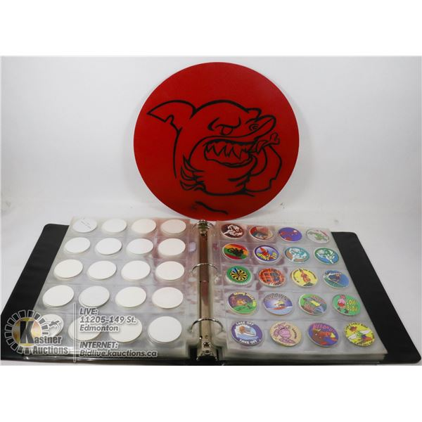 POG ALBUM WITH 400 POGS AND MAT.