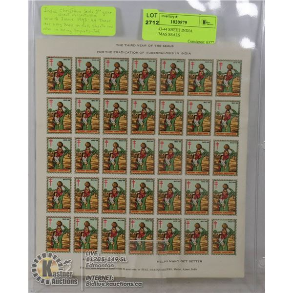 ONE 1943-44 SHEET INDIA CHRISTMAS SEALS RARE BECAUSE THEY ARE UNPERFORATED