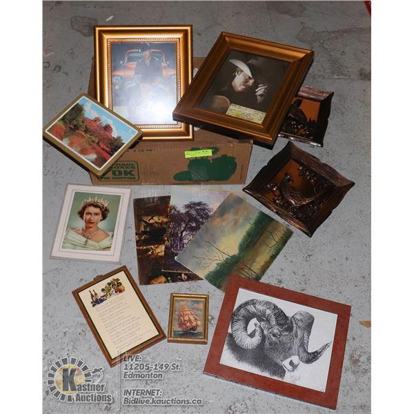 ESTATE COLLECTION OF VINTAGE PICTURES & PLAQUES INCL. QUEEN ELIZABETH, ALAN JACKSON, GEORGE CANYON,
