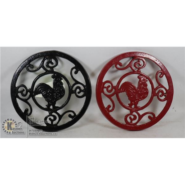 PAIR OF CAST IRON ROOSTER TRIVETS ONE BLACK ONE RED