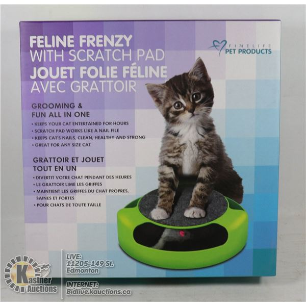NEW FELINE FRENZY PET TOY WITH SCRATCH PAD BUILT IN. GROOMING AND FUN ALL IN ONE