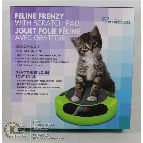 NEW FELINE FRENZY PET TOY WITH SCRATCH PAD BUILT IN GROOMING AND FUN ALL IN ONE