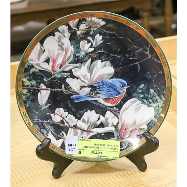 AMONG THE DEWDROPS BIRD PLATE WITH STAND