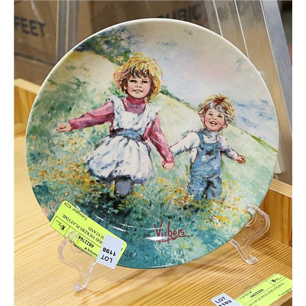 WEDGEWOOD VICKERS PLAYTIME PLATE WITH STAND