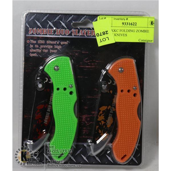 2 NEW KKC FOLDING ZOMBIE POCKET KNIVES
