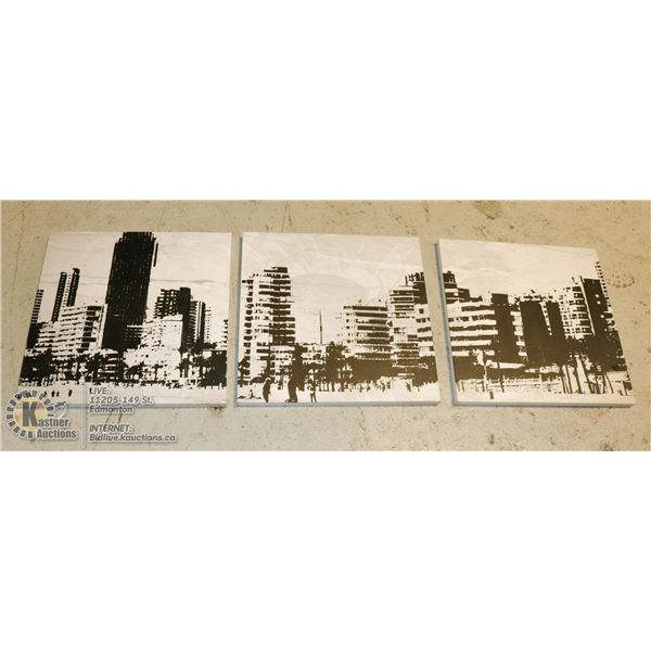 """SET OF 3 URBAN BARN ABSTRACT BEACH/CITYSCAPES WALL ART - 3 DIFFERENT SCENES (20""""X20"""")"""