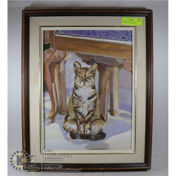 """""""PORTRAIT OF MY CAT"""" OIL ON CANVAS BY CANADIAN A SIGNED BY CANADIAN ARTIST MARGIT KADOSH, MEMBER CAN"""