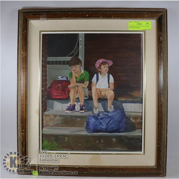 BOYS IN WAITING' OIL ON CANVAS SIGNED BY ARTIST SIGNED BY CANADIAN ARTIST, ORIGINAL ARTWORK, FRAME S