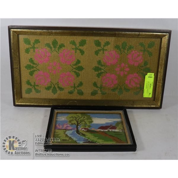 LOT OF TWO VINTAGE NEEDLE POINT ART - FLOWERS AND COUNTRYSIDE SCENE