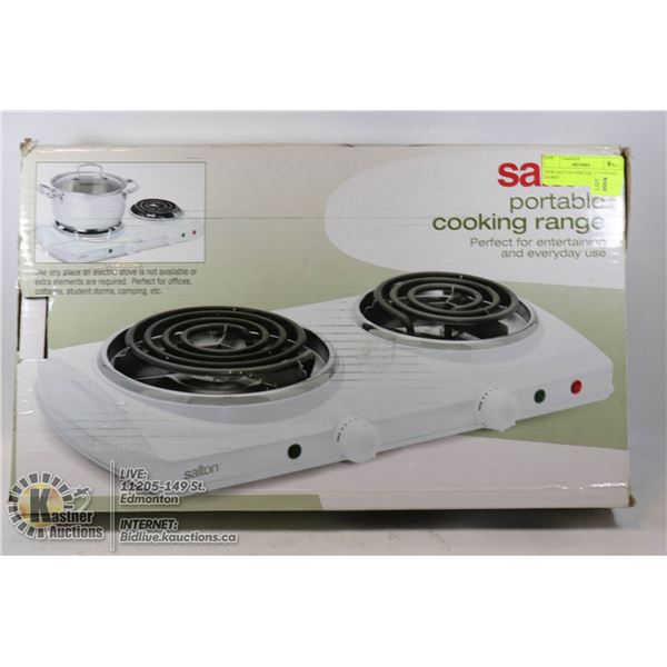 NEW SALTON PORTABLE COOKING RANGE DOUBLE COIL TOP, PERFECT ON CAMPING