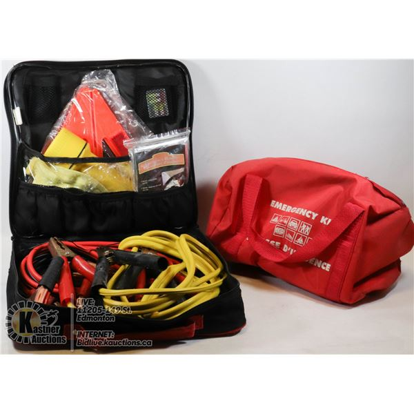 BOX WITH AUTOMOTIVE SAFETY KIT AND EMERGENCY KIT - FLARES, 1ST AID KIT, FLASHLIGHT BOOSTER CABLES, E