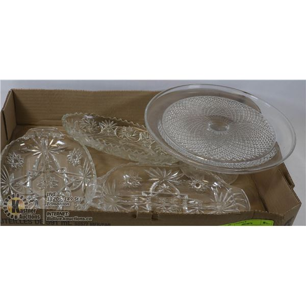 LOT OF FOUR VINTAGE CRYSTAL DISHES 1 PC CAKE HOLDER, 3 PC SERVING DISHES
