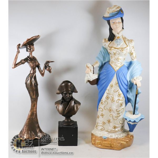LOT OF THREE FIGURINE SCULPTURES - NAPOLEON BUST AUTION PRODUCTIONS, BRONZE COLORED LADY AND VICTORI