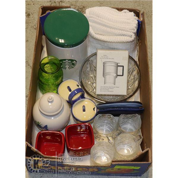 BOX OF KITCHENWARE INCL. 8 WASHCLOTHS, LARGE STARBUCKS CANISTER, NEW TRAVEL MUG, CONDIMENTS SET,  4-