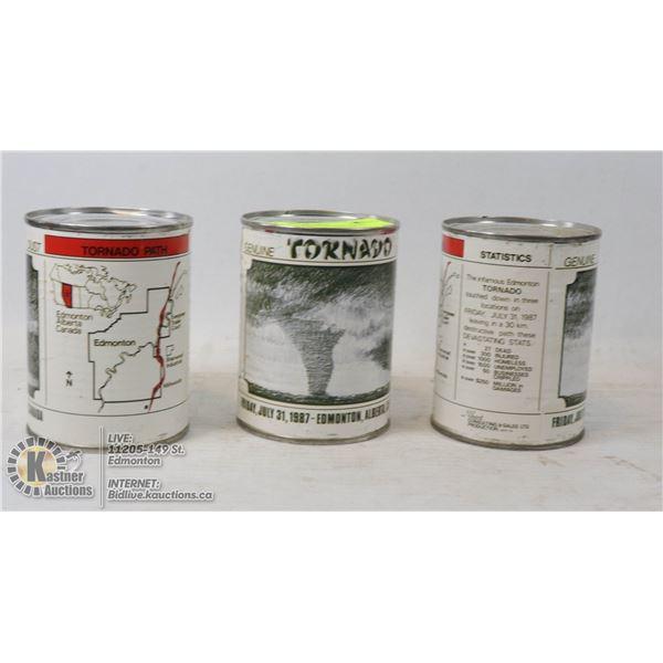 LOT OF 3 CANS TORNADO DUST COMMEMORATING FRIDAY JULY 31, 1987 EDMONTON ALBERTA