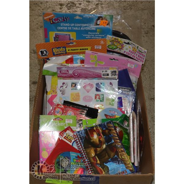 BOX FULL OF NEW KIDS PARTY ITEMS INCL. INVITATION CARDS, STICKERS, GIFT BAGS, BANNERS, ETC.