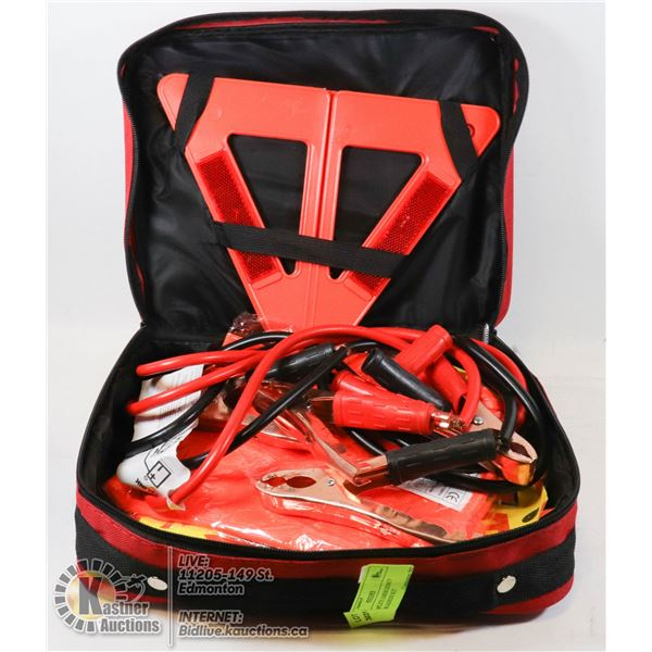 NEW COMPLETE EMERGENCY VEHICLE ROADSIDE KIT IN LIGHT WEIGHT ZIP-UP BAG INCLUDES BOOSTER CABLES, ROAD