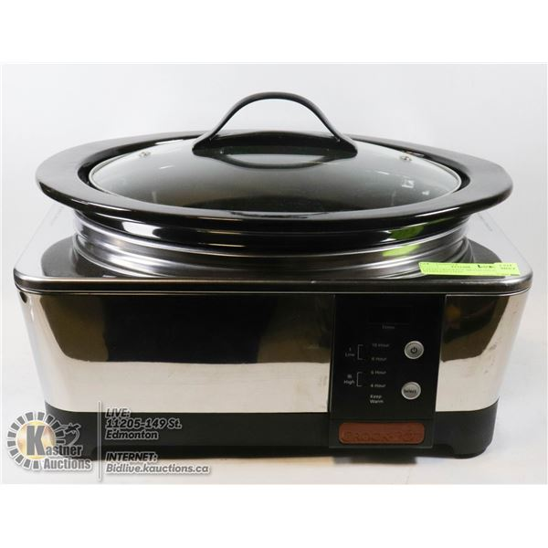 LARGE CROCKPOT BRAND DELUXE STAINLESS STEEL SLOWCOOKER WITH DIGITAL CONTROLS (UP TO 10 HRS COOK TIME