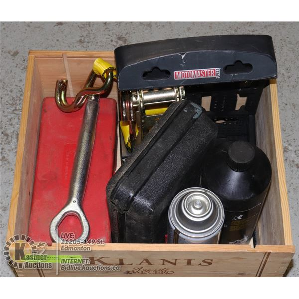 WOOD BOX WITH AUTOMOTIVE AND SHOP TOOLS AND SUPPLIES INCL. COOPER DIGITAL THERMOMETER, ROADSIDE FLAR